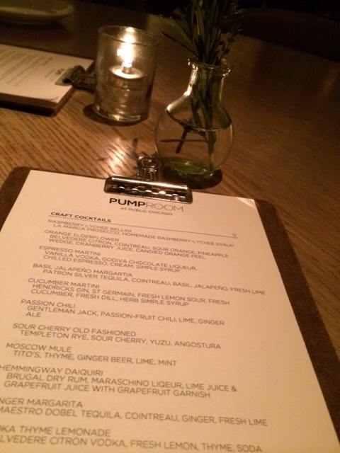 Cocktail Menu at Pump Room ~ Try the Moscow Mule!